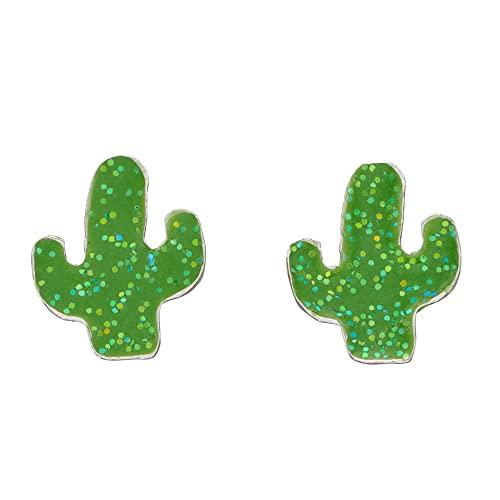 Beginnings Gecko London plata de ley 925 plata de ley Cactus Verde Purpurina