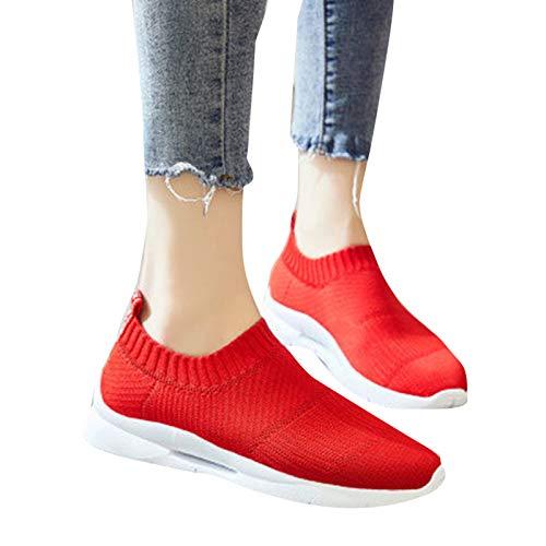 Xiaorong Zapatillas de deporte casuales ligeras para mujer con superficie de malla transpirable de tejido gruesa suela de goma para correr y gimnasio