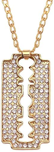 NC122 Anhänger Halskette Männer Legierung Rasiermesser Mode Gold Farbkette Kristallklinge Für Männer Neue Hip Pop Ketten