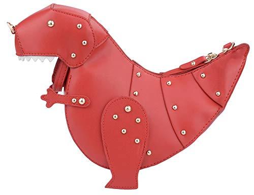 QZUnique - Borsa a tracolla da donna con motivo a dinosauro 3D, con cerniera, (Dinosauro Con Rivetto Rosso), Taglia unica