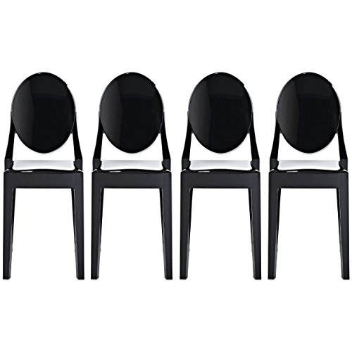 2xhome - Set of 4 (4 Chairs in Total!), Black, Victoria Style Ghost Side Chairs Dining Room Chairs - Victorian Accent Seat - Lounge No Arm Arms Armless Less Chairs