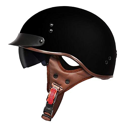 QHZ Harley Open Face Riding Motorcycle Half Helmet Certificación Dot Retro Mate...