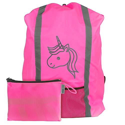 EAZY CASE Rucksack Schulranzen Regenschutz, Schutzhülle mit Reflektorstreifen, Regenüberzug, Regenschutzhülle wasserabweisend mit Reflektor und Tasche, mehr Sicherheit im Straßenverkehr, Einhorn Pink
