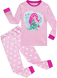 Image of Long Sleeve Cotton Mermaid Pajama Set for Girls - See More Designs