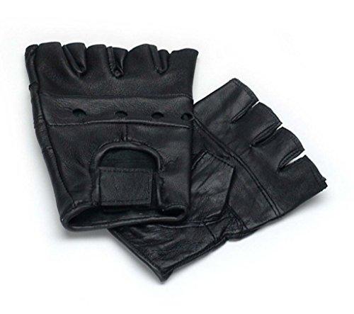 Lederhandschuhe, fingerlose Handschuhe aus Leder, Schwarz S - XXL L