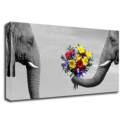 VividHome Elephant Canvas Wall Art Animal Elephant's Love Canavs Picture Contemporary Artwork for Office Decor Stretched Gallery Ready to Hang 20'x36'