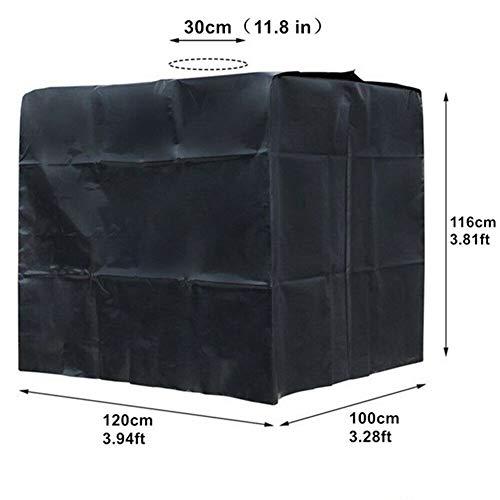 FYZS Outdoor-Abdeckung for Regen Wassertank 1000 Liter IBC-Behälter-Folien wasserdichtes Anti-Staubschutz Oxford-Tuch 210D - Schwarz/Sliver/Grün (Color : Black, Specification : 120x100x116cm)