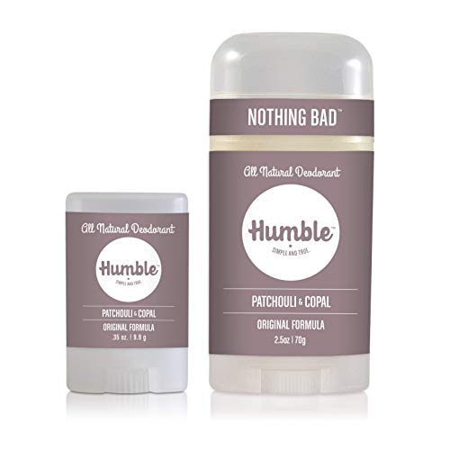 Humble Brands All Natural Aluminum Free Deodorant Stick for Women and Men, Lasts All Day, Safe, and Certified Cruelty Free Bundle with Full and Travel Size, Patchouli and Copal