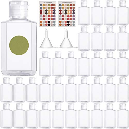 50 Pieces 2 oz Empty Bottles Travel Size Bottles 60 ml Refillable Clear Plastic Containers with Flip Caps, Funnel, Stickers for Liquids Toiletries Shampoo Lotion Travelling Supplies