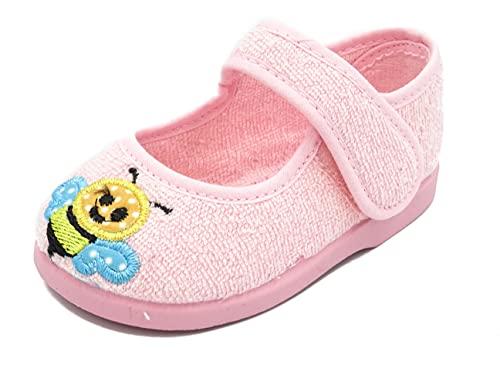 PULIDINES - P0935/5 Zapatilla de casa con Suela de Goma de Toalla para niña Bebé niña Talla: 19 Color: Rosa