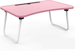 Folding Camping Table Laptop Table Bed Table Small Portable Folding Table Three Colors Can Choose Huhero (Color : Pink)