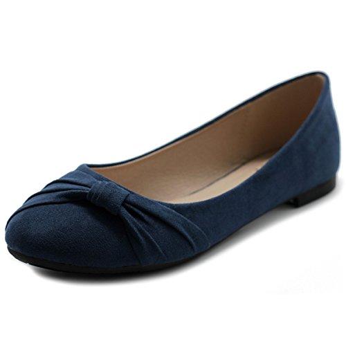 Ollio Women's Shoe Ballet Faux Suede Flat ZM1815 (8.5 B(M) US, Navy)