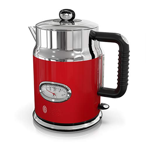 Image of Russell Hobbs Retro Style 1.7L Electric Kettle, Red & Stainless Steel, KE5550RDR: Bestviewsreviews