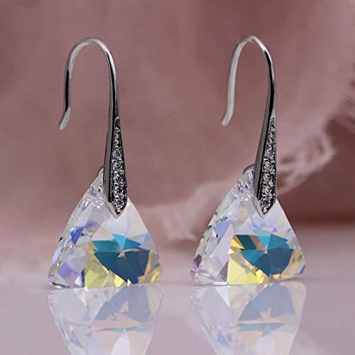 CHQSMZ Pendiente Nuevo Triángulo Humo Gris Austria Cristal Pendientes Largos de Gota Oro Blanco Circón Natural Mujeres Boda Noble Joyería de Moda Blanco AB
