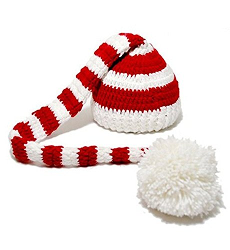Kafeimali Baby Christmas Elf Long Tail Crochet Beanie Knit Hat Stocking Caps (White)