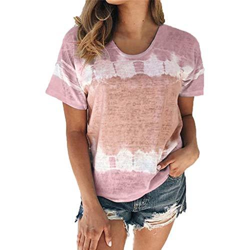 YAnGSale Top Women Gradient Blouse Fashing Printing T-Shirt Summer Party Clubwear Plus Size Tee Tops (Pink, M)