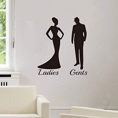 wiFndTu - Adhesivo decorativo para puerta de baño, diseño de silueta de señoras