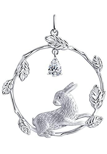 Colgante de conejo de plata 925 con cristal Swarovski