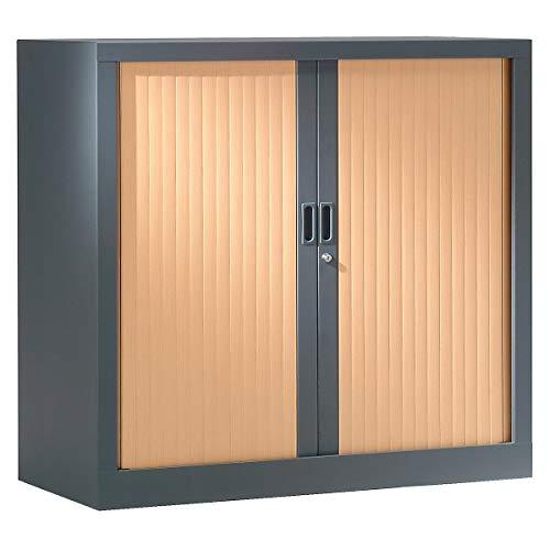 Armoire Monobloc à rideaux | Anthracite | Hêtre| HxLxP 1000 x 1200 x 430 | Certeo