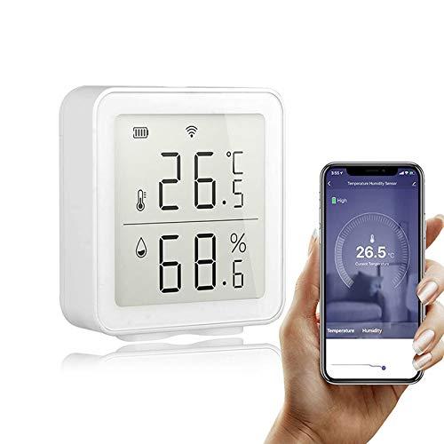 QUANXI Temperatur- und Feuchtigkeitssensor, Innenthermometer,Wiya WiFi Intelligent Home Wireless-Temperatursensor,Hausautomations-Szenensystem,APP-Fernbedienung,kompatibel mit Alexa und Google Home