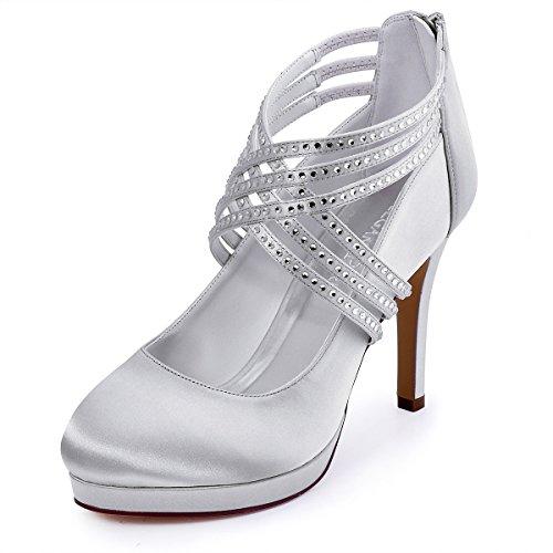 ElegantPark EP11085-PF Zapatos Novia Boda Plataforma Rhinestones Cerrado Zipper Raso Zapatos Fiesta Boda Mujer Plata Talla EU 38
