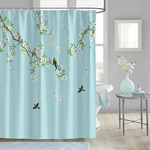 Bonhause Birds and Flowers Shower Curtain with 12 Hooks White Blossom Floral Decorative Bath Curtain 72 x 72 Inch Polyester Fabric Machine Washable Waterproof Bathroom Curtain