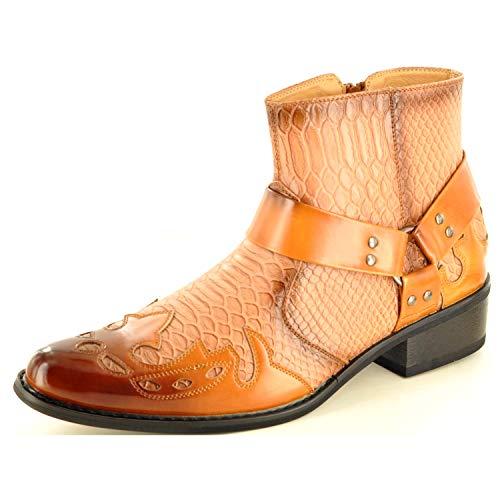 Mijn perfecte paar mannen slang huid patroon westerse cowboy enkel laarzen met rits (maat 7, Tan)