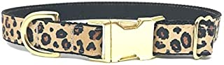 Big Pup Pet Fashion Fancy, Trendy, Glam, Leopard Print Dog Collar with Gold Buckle and Hardware