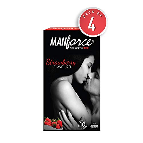 Manforce Wild 3 in 1 Strawberry Condoms (4 Pack's of 10)
