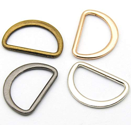Flat Alloy Metal D-Rings Welded Buckles ~ 12mm high x 20mm Wide ~ Leather Craft Webbing ~ Silver, Gold, Brass, Black (10, Brass)