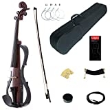 Kinglos 4/4 Colored Solid Wood Advanced 3-Band-EQ Electric/Silent Violin Kit with Ebony Fittings Full Size (SDDH1601)