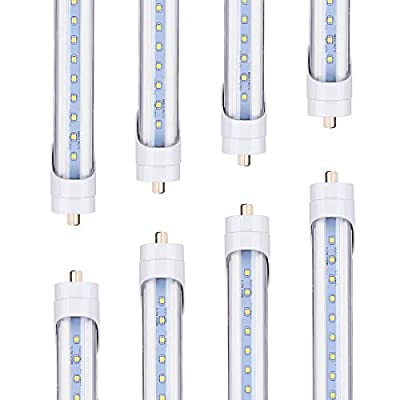 TRLIFE 8FT LED Tube Light, T8 8FT LED Bulbs 45W 5000K Daylight White FA8 Base LED Tube Lights, Replacement for Florescent Lamp, Clear Cover, 5400Lumens, Dual-End Powered (8 Pack)