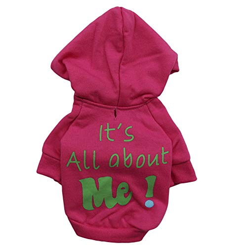 Ollypet Pet Clothes Puppy Sweater for Small Dogs Cute Teacup Chihuahua Yorkie Fleece Hoodie Clothing for Winter Hot Pink L