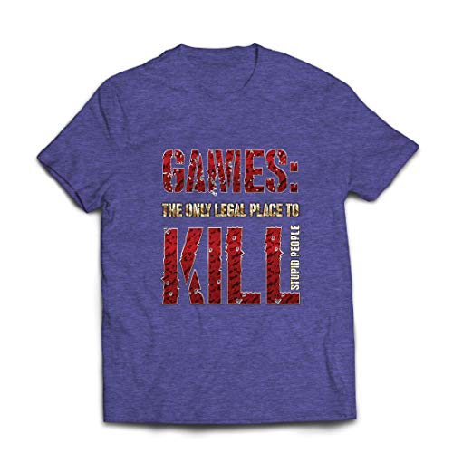 lepni.me Mens T-shirt Spel den Enda Legala Platsen att Döda Offer för Dumma Människor (L Ljung Blå Multi Color)