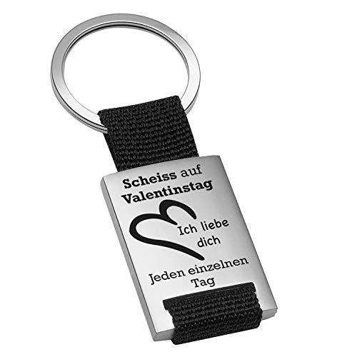 Schlüsselanhänger Scheiss auf Valentinstag: origineller Schlüsselanhänger mit ausgefallenem Spruch graviert – Anti Valentinstagsgeschenke für Freund l Freundin