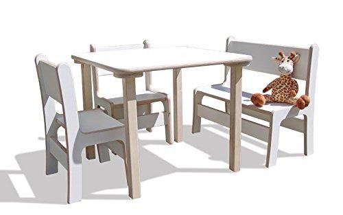 Die Schreiner - Christoph Siegel Eli-Kids Best of Jam Ensemble 2 chaises, 1 Banc et 1 Table – Blanc