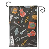 HXJIULI Garden Flag,Jazz Band and Musical Instruments Double Sided Yard Flag for Lawn Farmhouse Outside,Welcome Flag Outdoor Indoor Yard Decor