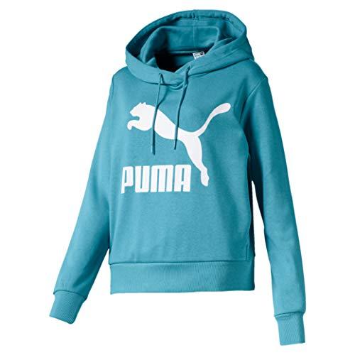 PUMA Damen Classics Logo Hoody Pullover, Milky Blue, S
