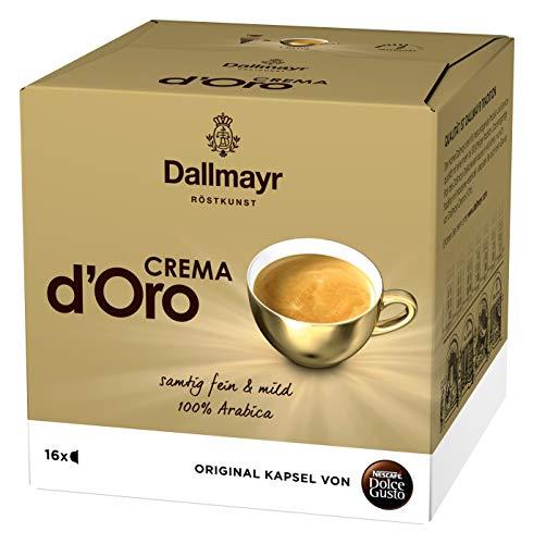 NESCAFÉ Dolce Gusto Dallmayr Crema d´Oro (100% Arabica-Bohnen, Feine Crema und vollmundiges Aroma, Schnelle Zubereitung, Aromaversiegelte Kapseln) 1er Pack (1 x 16 Kapseln)