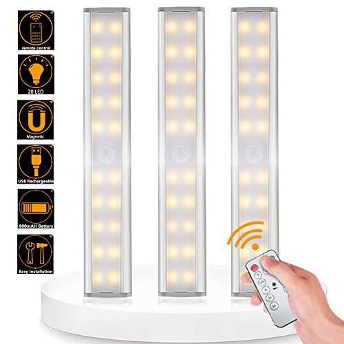 Bojim Luci Armadio 20 LED con Telecomando Senza Fili, Bianco Caldo Luce Notturne USB Ricaricabile, Wireless Barra Lampada Guardarob con Striscia Magnetica Adesiva, per Scale, Corridoio, Cucina 3 pezzo