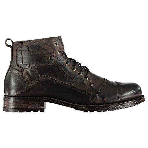 Firetrap Mens Webb Boots Smart Lace Up Slight Heel Textured Brown UK 11 (45)