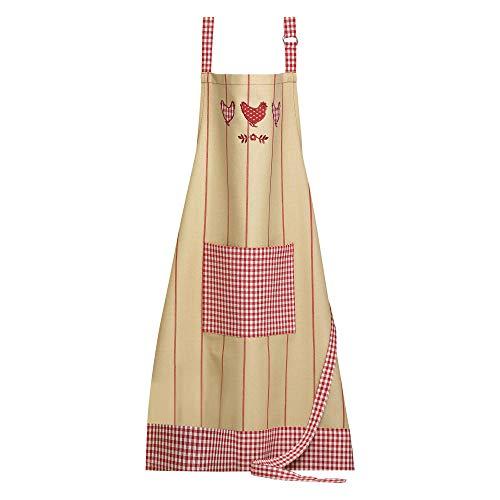 Winkler - Tablier de cuisine - Tablier de cuisine réglable - Tablier pour la cuisine - Tablier barbecue - Tablier 100% Coton - 72 x 85 - Ficelle/rouge Rouge - Poulette