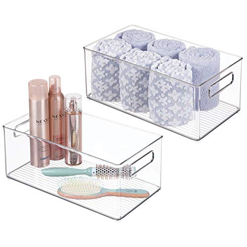 mDesign Deep Plastic Storage Bin Tote with Handles for Organizing Cosmetics, Makeup Palettes, Body Wash, First Aid, Vitamins, Supplements, Hair Styling Accessories, 2 Pack - Clear