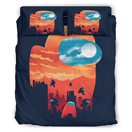 Sonnenuntergang unter Uns Vierteiliges Bett Königin Bett-Bezug 4 Teilig mit Reißverschluss Enthalten Maßgeschneidert 1 Bettbezug & 1 Bettdecke & 2 Kissenbezug White 228x228cm