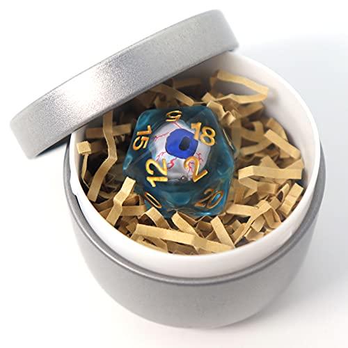 Byhoo D20 DND Würfel mit rotem Auge in Metalldose, Würfel mit blutunterlaufenem Auge, DND 5 Zubehör, Brettspiel, einzigartiges Geschenk für Rollenspiel Anfänger