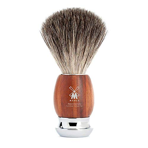 MÜHLE VIVO Pure Badger Shaving Brush | Chrome Plated Stainless Steel Handle | Luxury Shave Accessory for Men | Plum Wood