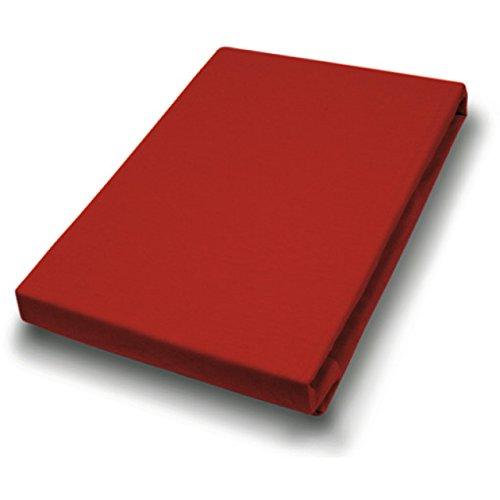 Hahn Haustextilien Elasthan-Feinjersey-Spannlaken Royal 180-200x200-220 cm rot