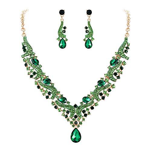 EVER FAITH Juegos de Joyas para Mujer Cristal Austríaco Boda Flor Oleada Lágrima Collares Pendientes Conjunto Verde Tono Dorado