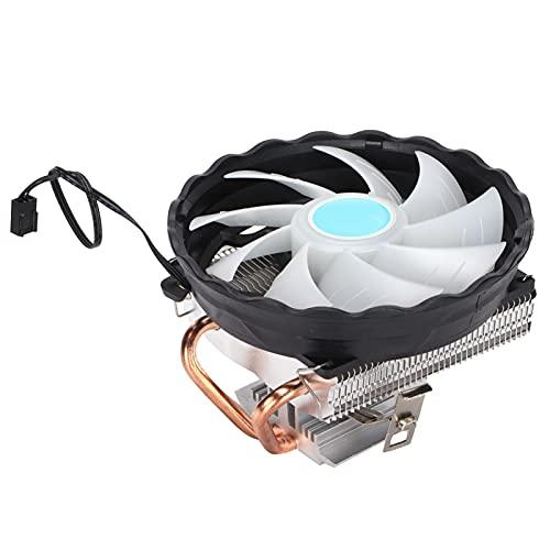 Ventilador de Caja RGB, Radiador LED RGB silencioso, Enfriador de CPU Doble conducción de Calor Control Inteligente de Temperatura Ventilador de Caja LED RGB para computadoras de Escritorio