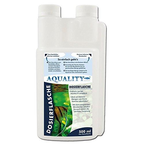 AQUALITY Dosierflasche 500 ml (Praktisch, handlicher Dosierer und Messbecher in Einem - Weichspüler, Motoröl, Zweitaktöl, Reinigungskonzentrat - Ideal auch für unterwegs)